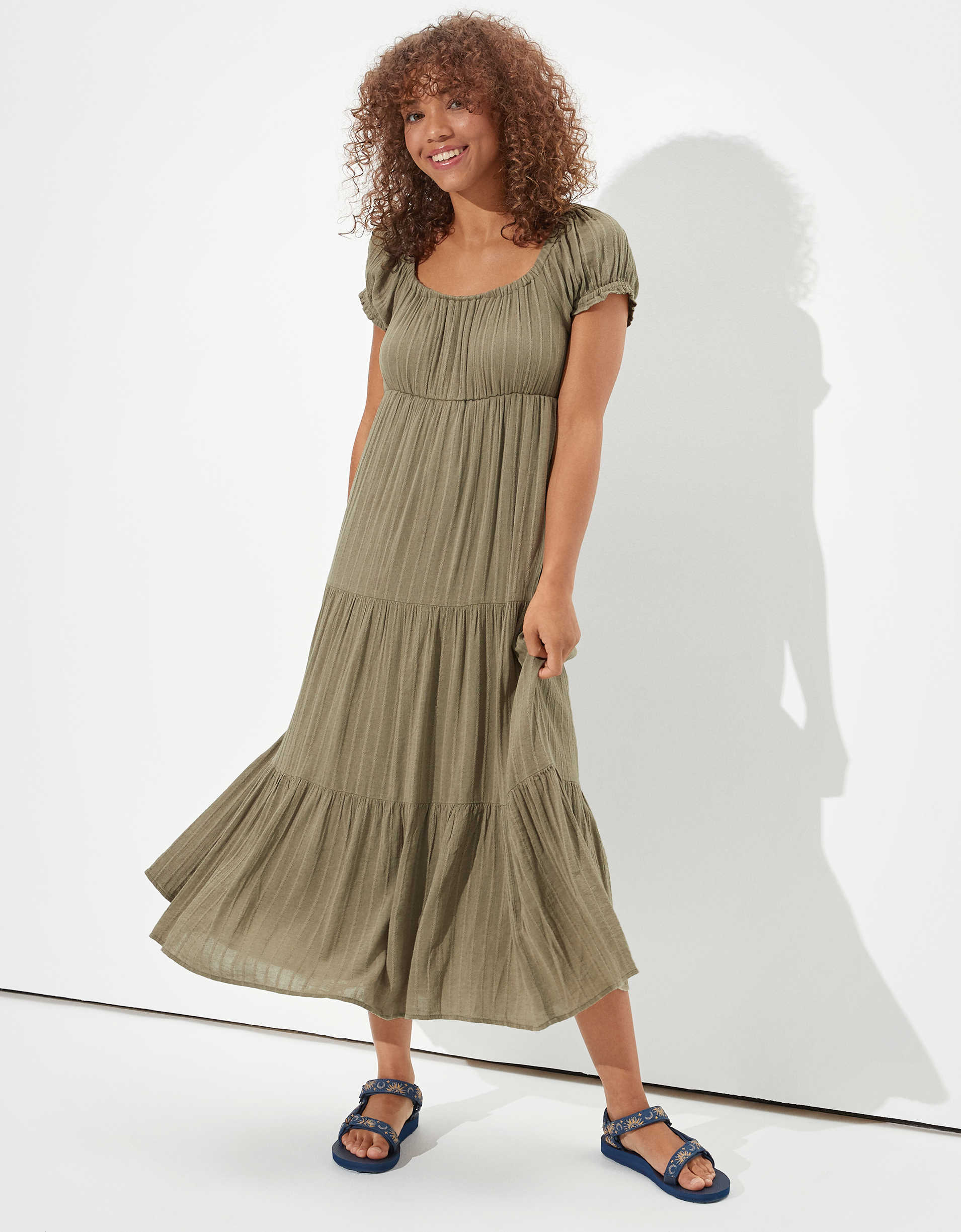 AE Off-The-Shoulder Tiered Babydoll Dress