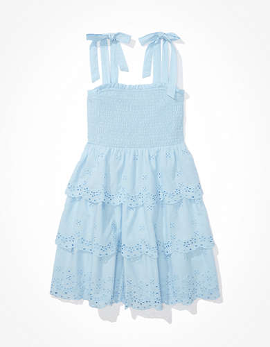 AE Solid Eyelet Smocked Mini Dress