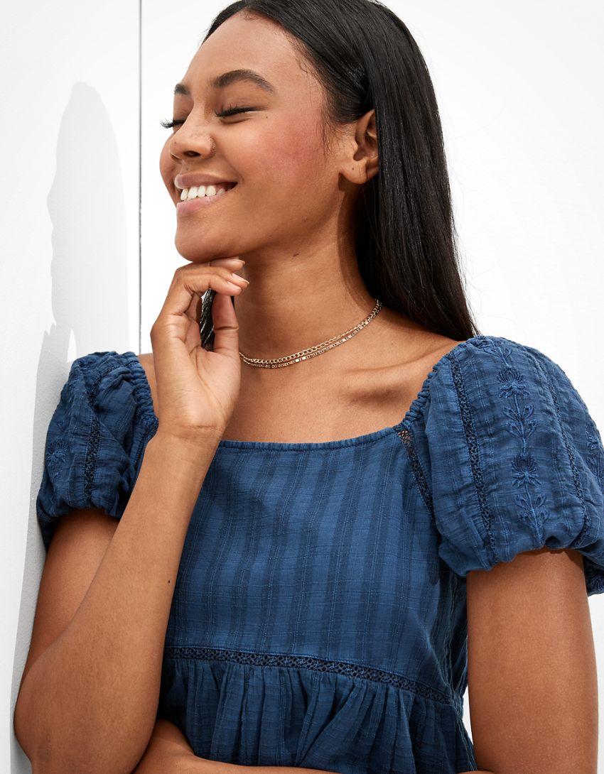 AE Puff-Sleeve Babydoll Mini Dress