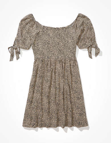 AE Tie-Sleeve Smocked Mini Dress