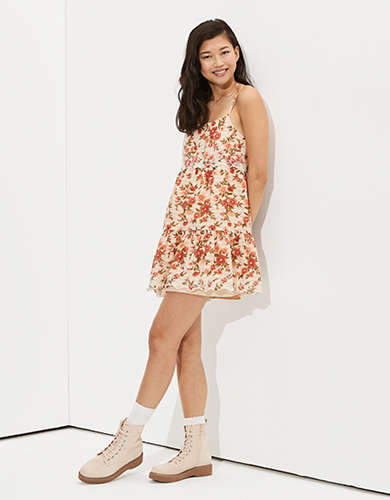 AE Floral Embroidered Tiered Babydoll Dress