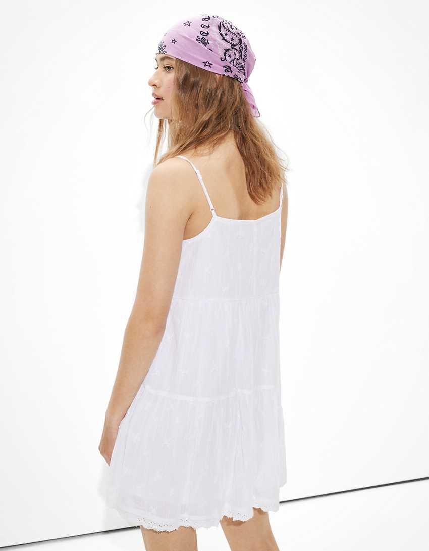 AE Solid Embroidered Tiered Babydoll Dress