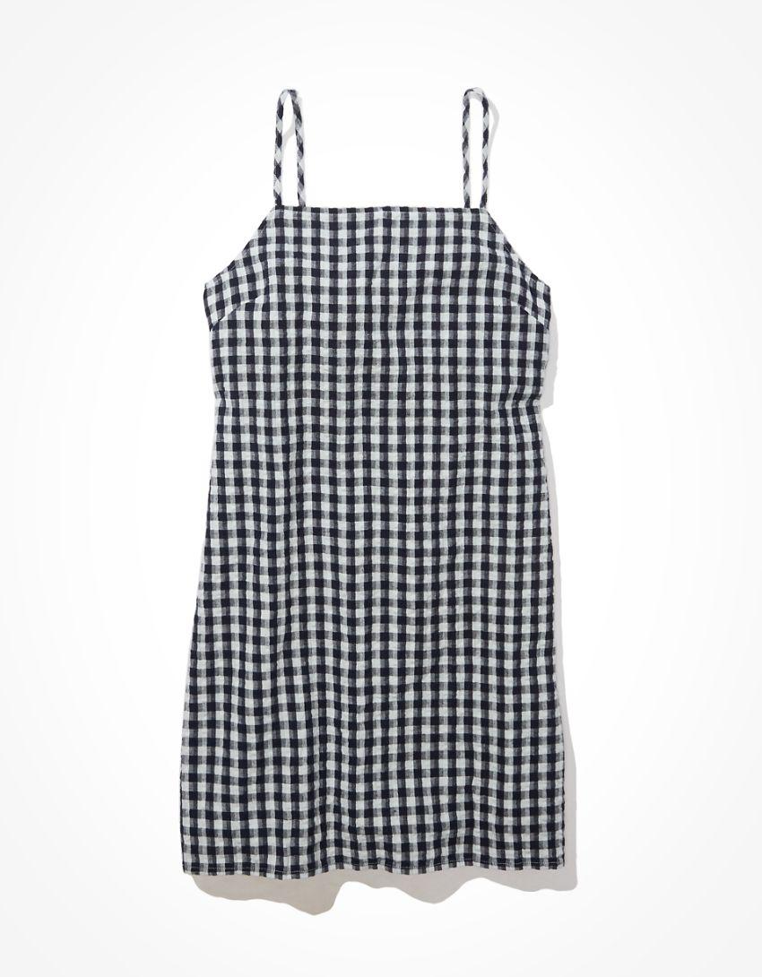 AE Gingham Tie-Back Mini Dress