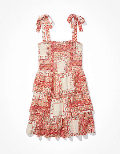 AE Printed Smocked Tie-Strap Mini Dress