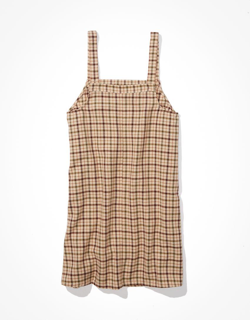 AE Plaid Overall Mini Dress