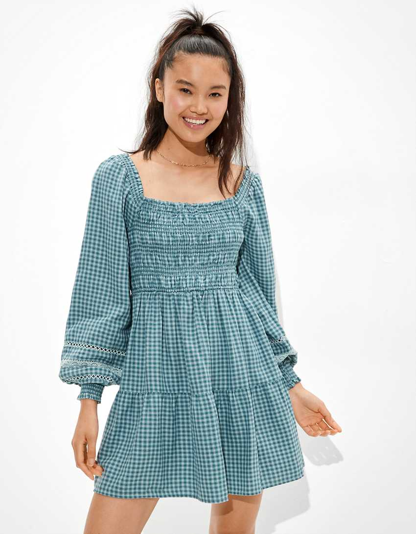 AE Plaid Smocked Mini Dress
