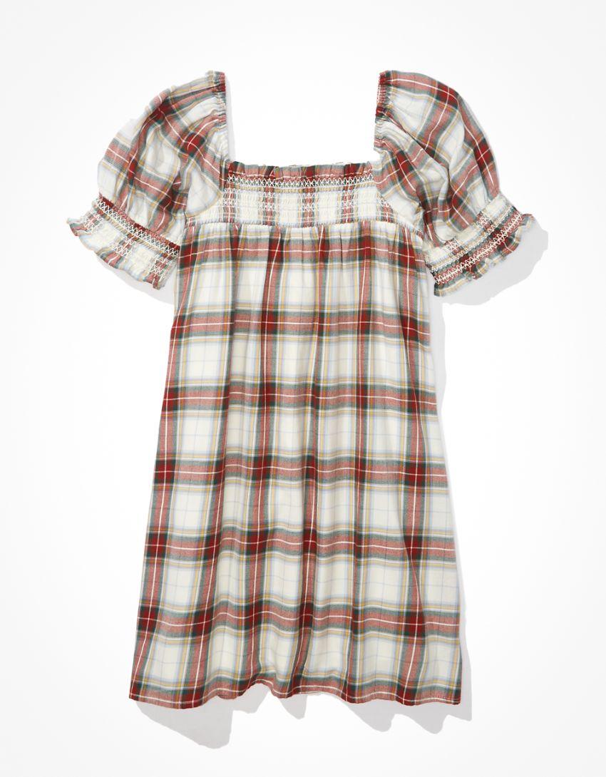 AE Plaid Smocked Puff-Sleeve Babydoll Dress