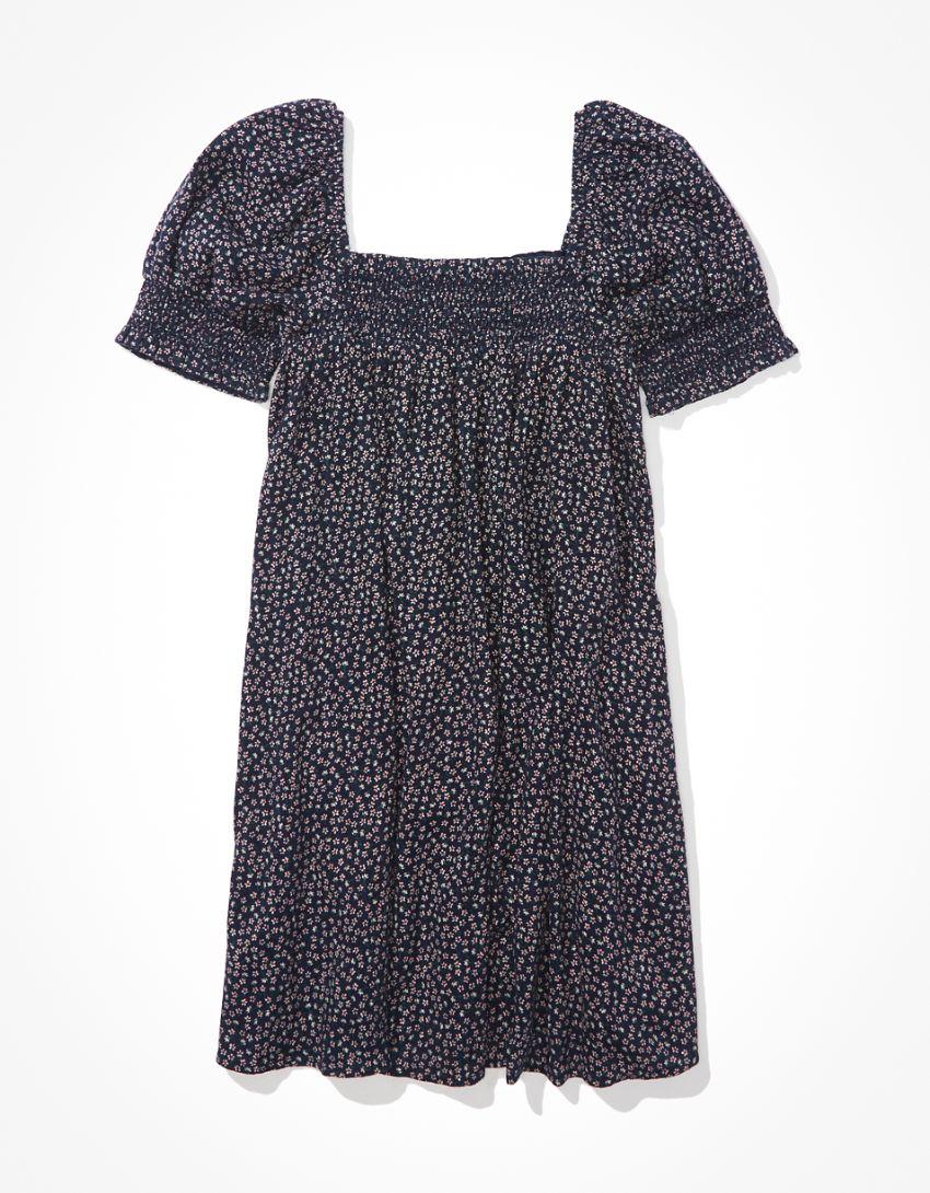AE Floral Smocked Puff-Sleeve Babydoll Dress