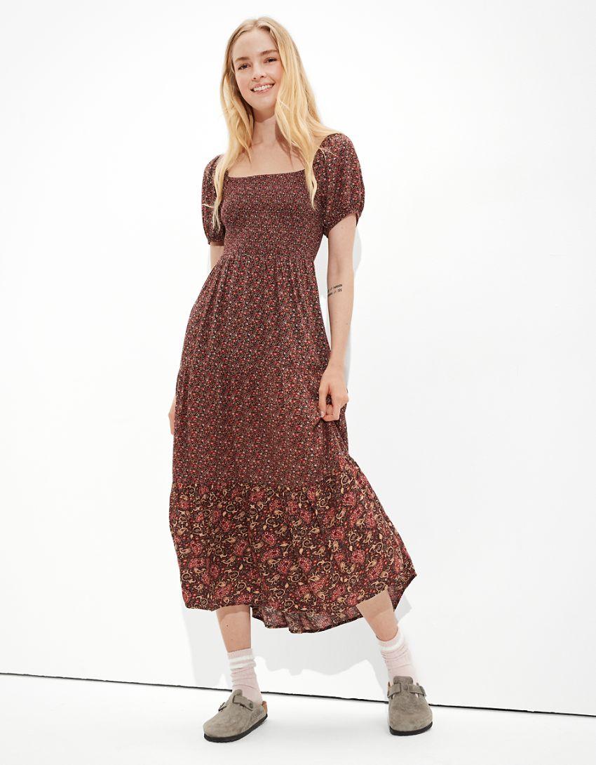 AE Smocked Puff-Sleeve Midi Dress