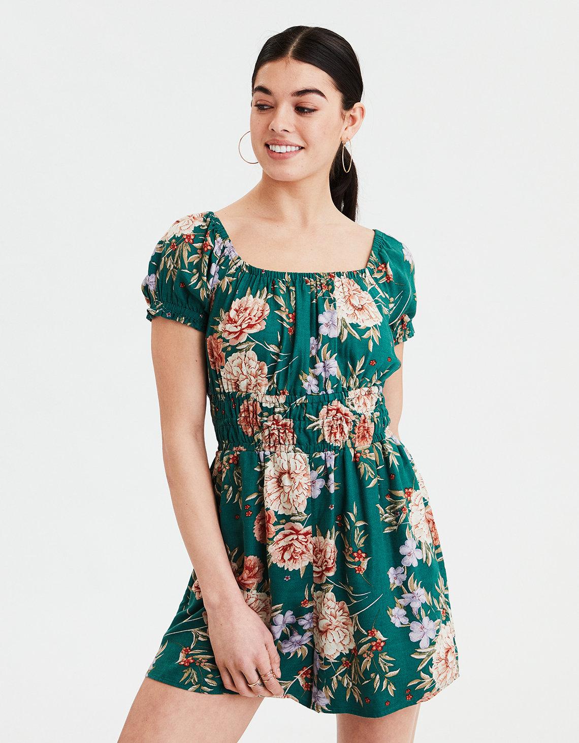 6473ceb2d339 AE Puff Sleeve Floral Romper