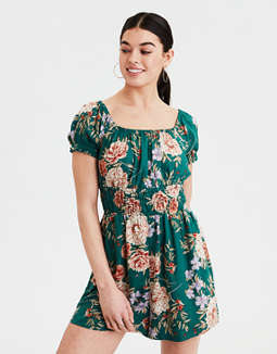 AE Puff Sleeve Floral Romper