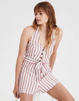 AE Striped Button Front Romper
