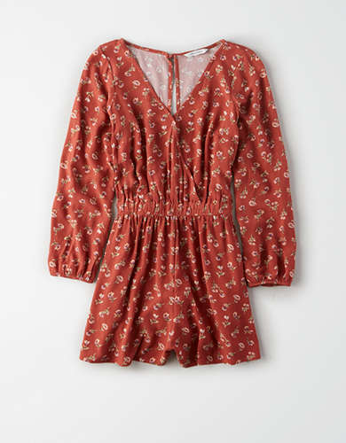 AE Printed Long Sleeve Romper