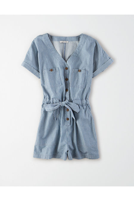 Vintage Rompers, Playsuits | Retro, Pin Up, Rockabilly Playsuits AE Tie Front Utility Romper Womens Blue XXL $37.46 AT vintagedancer.com