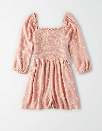 AE Long Sleeve Smocked Romper