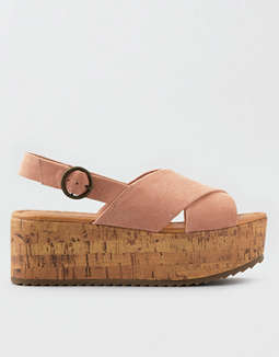 AEO Oversized X-Band Flatform Wedge Sandals
