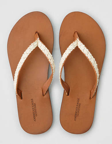 AE Crochet Overlay Leather Flip Flop