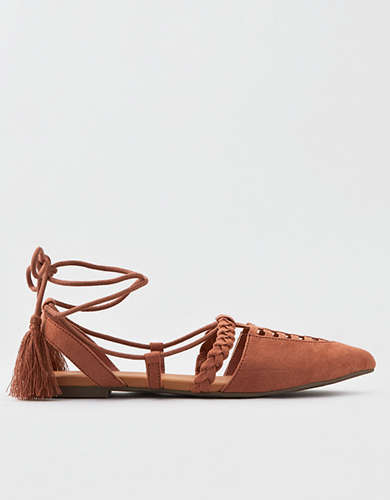 AEO Lace Up Pointed Toe Flat