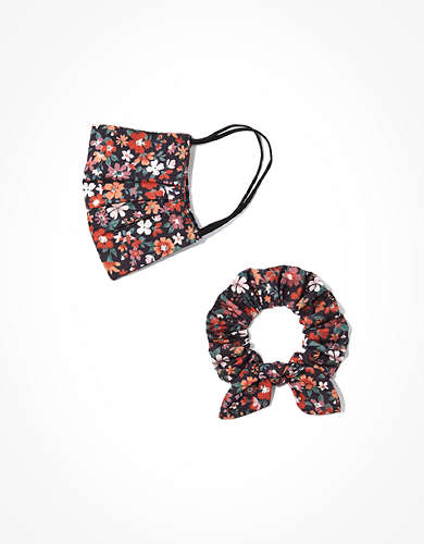 AEO Printed Mask + Scrunchie