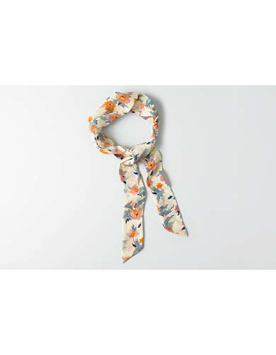 AEO Cream Floral Tie Headband -