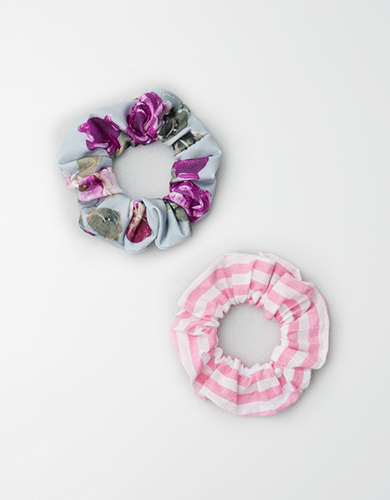 AEO Floral & Striped Scrunchie Set -