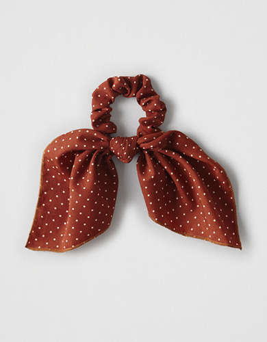 AEO Rust Polka Dot Bow Scrunchie  -