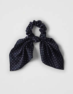 Aeo Navy Polka Dot Bow Scrunchie by American Eagle Outfitters