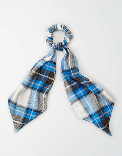 AEO Blue Flannel Bow Scrunchie  -