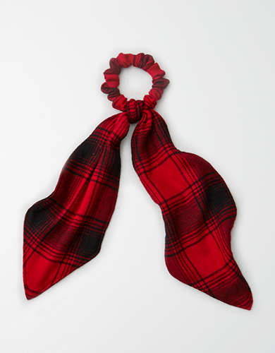 AEO Red Flannel Bow Scrunchie  -