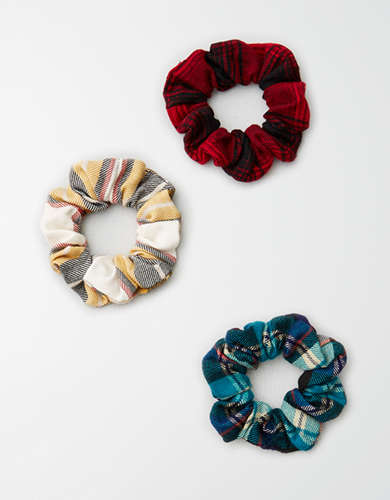 AEO Flannel Scrunchies 3-Pack  -