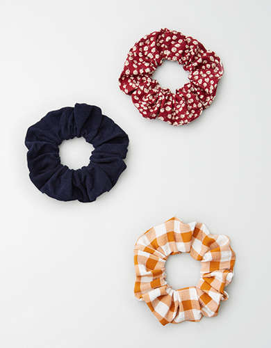 AEO Red Floral Scrunchie 3-Pack -