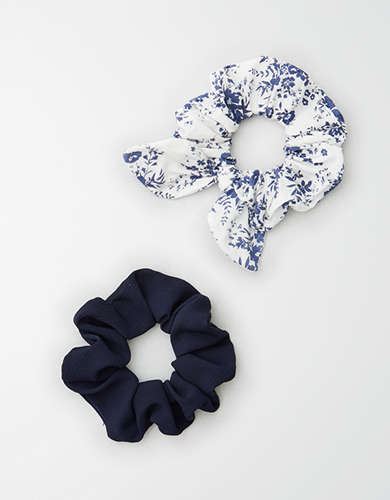AE White Floral Scrunchie 2-Pack -