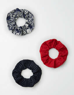 AE Red Eyelet Scrunchie 3-Pack