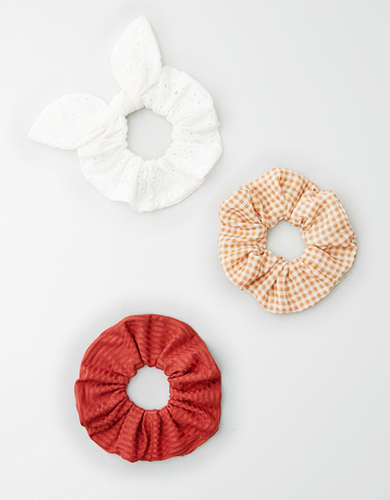 AE Rust Gingham Scrunchie 3-Pack -
