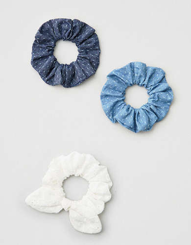 AE Chambray & White Scrunchie 3-Pack -