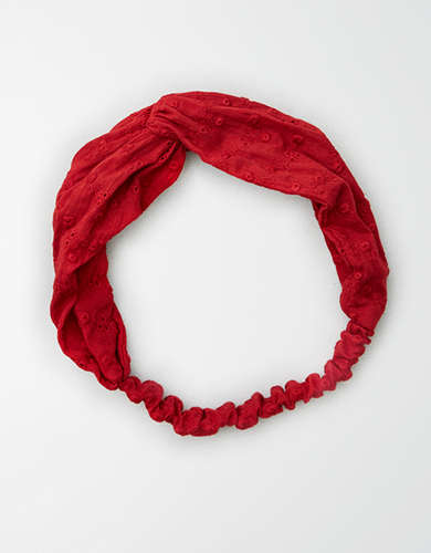 AE Red Eyelet Twist Headband