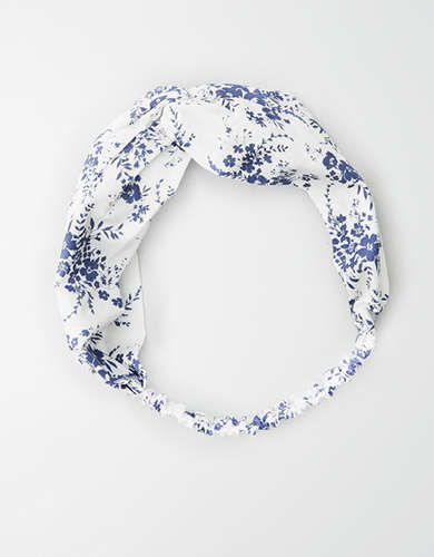AE White Floral Twist Headband