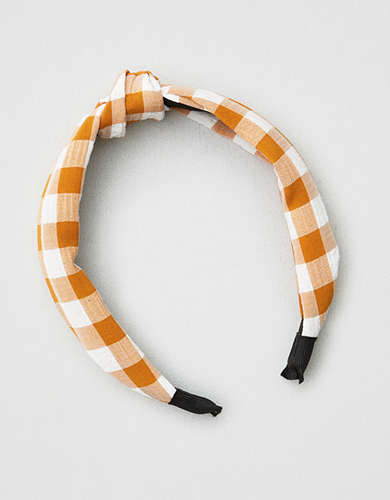 AE Mustard Gingham Hard Headband -