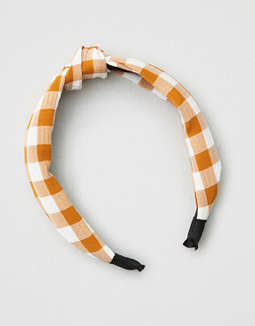 ae-mustard-gingham-hard-headband by american-eagle-outfitters