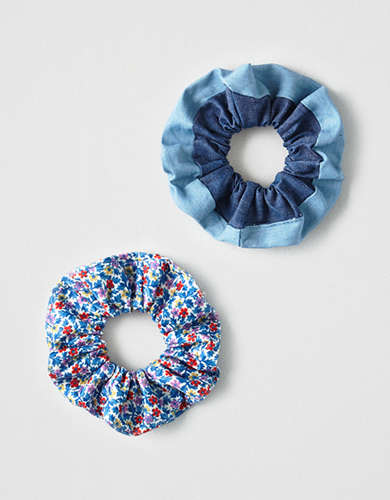 AEO Floral + Denim Scrunchies 3-Pack -