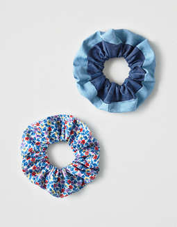 AEO Floral + Denim Scrunchies 3-Pack