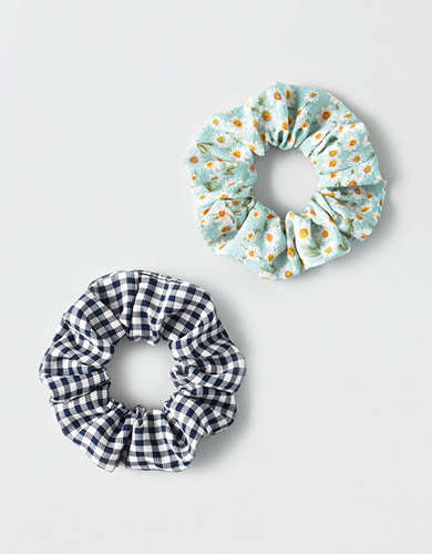 AEO Gingham + Floral Scrunchies 2-Pack -