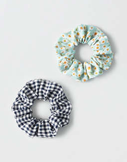 AEO Gingham + Floral Scrunchies 2-Pack
