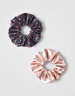 AEO Blush + Floral Scrunchies 2-Pack
