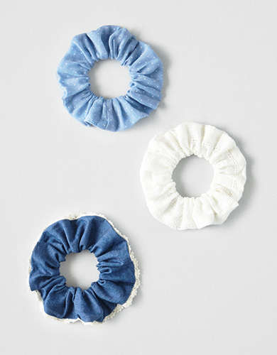 AEO Denim + Dot Scrunchies 3-Pack -