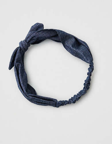 AEO Denim Bow Front Headband -