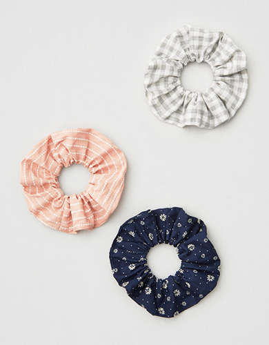 AE Plaid & Floral Scrunchie 3-Pack -