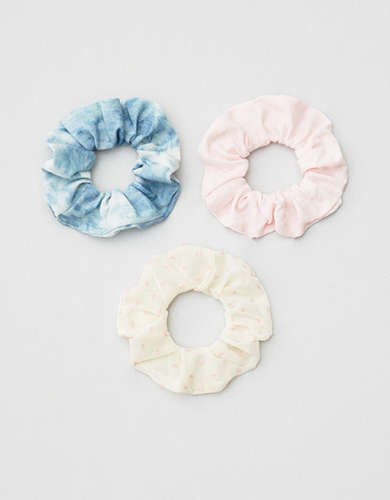 AEO Pink + Chambray Scrunchies 3-Pack -