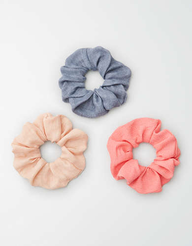 AEO Pink + Blue Scrunchies 3-Pack -