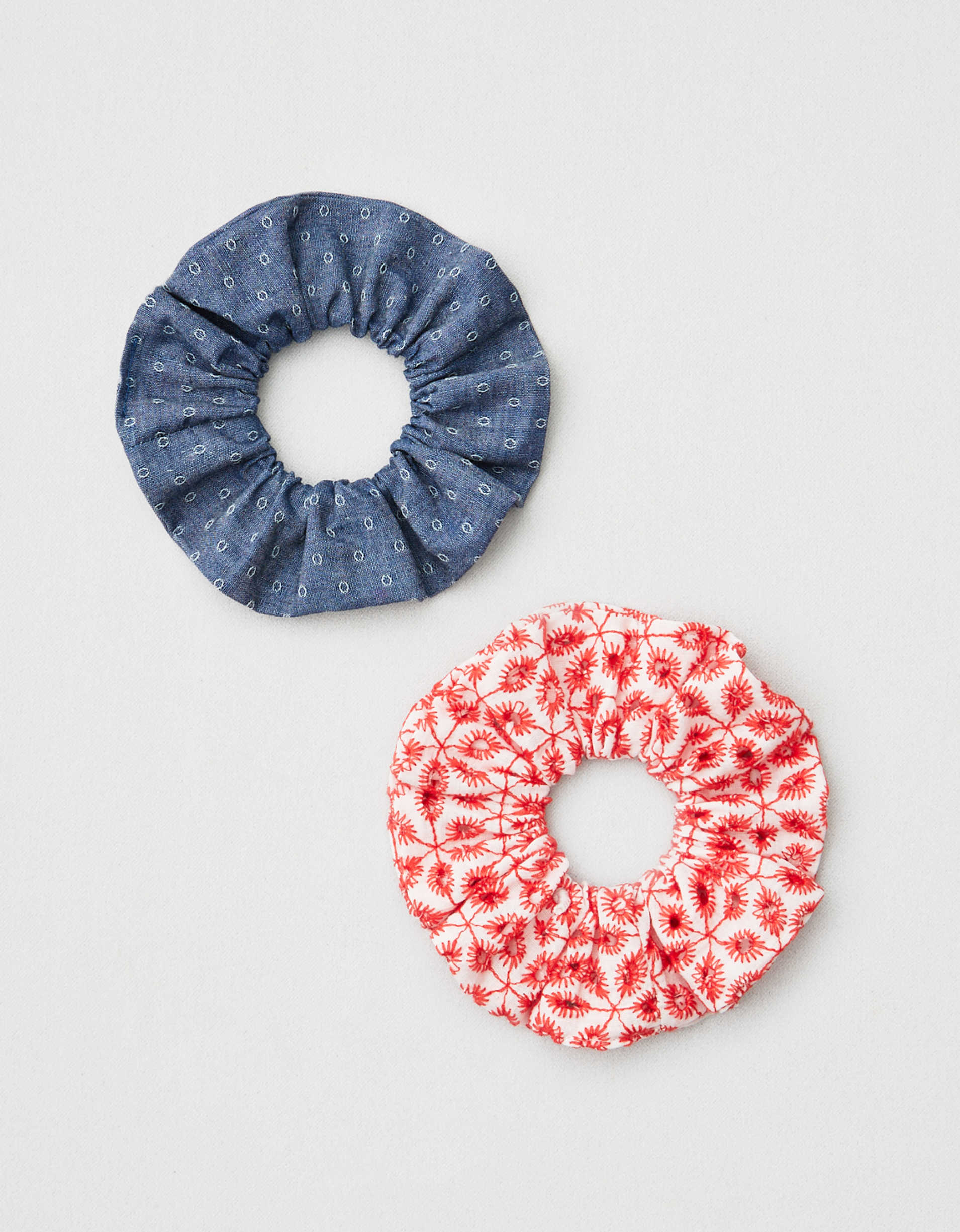 AEO Red Eyelet + Chambray Scrunchies 2-Pack